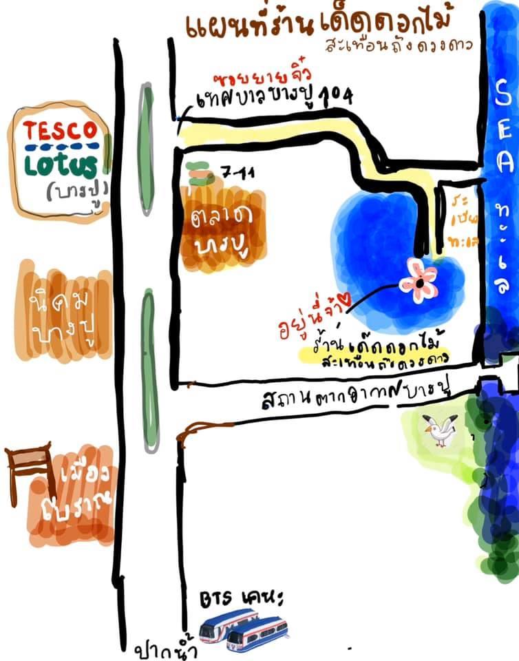 เด็ดดอกไม้สะเทือนถึงดวงดาว Coffee&Craft ค่าเฟ่ชื่อสุดเก๋ที่บางปู-แผนที่ทางร้าน