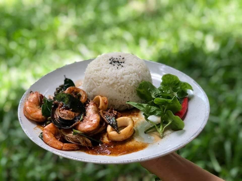 พร้าวหอม คาเฟ่ (PhraoHom cafe) นั่งชิลกลางสวนมะพร้าว บ้านแพ้ว สมุทรสาคร  อาหารอร่อย