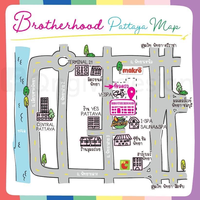 แผนที่ Brotherhood Pattaya นั่งคาเฟ่สีรุ้ง กินเตี๋ยวเรือ สุดชิคที่พัทยา